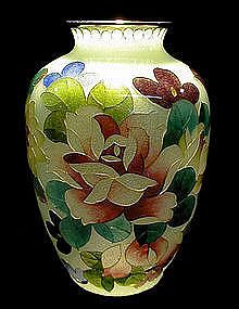 "Beautiful plique-a-jour translucent cloisonne vase with bold flower design, Perfect condition, no cracks or chips with, height 5"", Showa Period (circa 1930's), Japan."