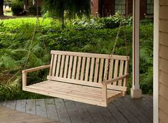 Wooden Porch Swing Natural Wood Patio Outdoor Yard Garden Bench Hanging for sale online Outdoor Garden Bench, Swing Seat, Pergola Swing, Pergola With Roof, Outdoor Seating, Outdoor Decor, Pergola Ideas, Pergola Patio, Pergola Plans