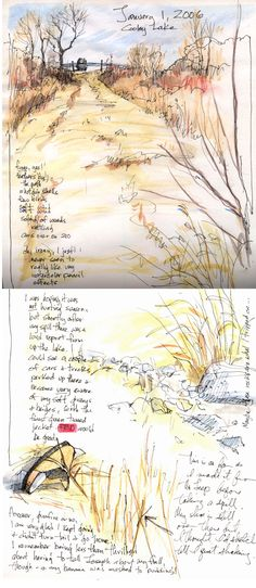 sketches with writing and labels - by cathy johnson
