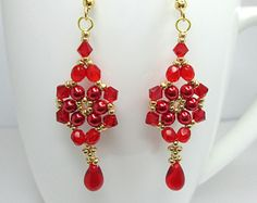 Red floral earrings, Christmas berry, red and gold earrings, christmas earrings, flower earrings, pearl flower, christmas jewelry,