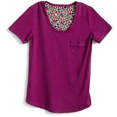 Vera Bradley Knit Short Sleeve Pajama Tee in Plum ($28) ❤ liked on Polyvore featuring intimates, sleepwear, pajamas, plum, knit sleepwear, vera bradley, pj pants, knit pajamas and short sleeve pajamas