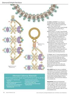 Diamond Delight Necklace Interweave February-March 2017 Designer: Eve Leder Materials: 8 x 5 mm diamond duos, 3 mm Free Beading Tutorials, Beading Patterns Free, Bead Patterns, Beaded Jewelry Designs, Bead Weaving, Bead Crafts, Making Ideas, Jewelry Making, Beads