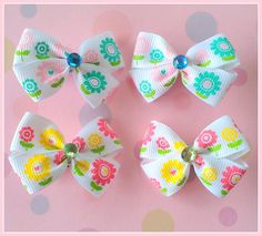 Spring Flowers Bitsy Bows 2 pairs by Flowers4Emily on Etsy