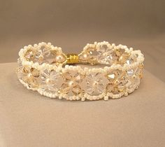 Woven Swarovski Crystals with Ivory Luster Beading by Handwired, $46.00