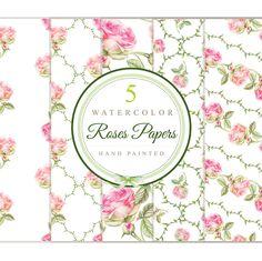 Roses 5 watercolor papers / patterns digital di DottyCreative