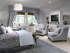 Beautiful grey bedroom. This is why I need to move my dresser into my walk-in closet and get my 2 wingback chairs reupholstered... pronto!