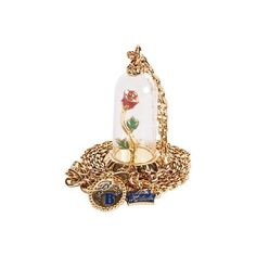 Beauty and the Beast Rose Dome Necklace From Disney Couture :... ($79) ❤ liked on Polyvore featuring jewelry, necklaces, accessories, disney, jewels, rosette necklace, disney couture jewelry, rose necklace, rose jewelry and disney couture
