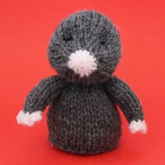 Mole Toy Knitting Pattern by Jelly Bums - comes with instructions to make a toy with 3 leg options, finger puppet and egg cosy. Available from https://www.etsy.com/shop/Jellybum