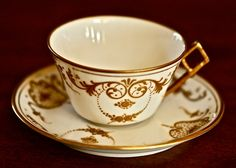 Limoges tea cup and saucer-B & H French Limoges-French porcelain-Limoges France-gilded tea cups-tea sets by marionsvintagebakery on Etsy https://www.etsy.com/listing/240788123/limoges-tea-cup-and-saucer-b-h-french