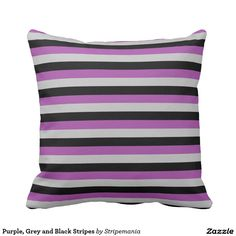 Purple, Grey and Black Stripes Pillow
