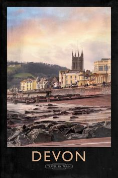 We love this vintage railway poster showing off Teignmouth! One of the most stu… Devon Holidays, Seaside Holidays, Devon Beach, Beach Posters, Art Posters, Devon Coast, British Travel, Railway Posters, By Train