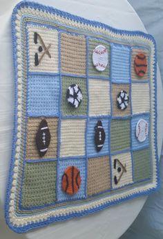 crochet baby blanket, baseball applique,football applique, boy baby shower,hockey bedding,baby boy bedding, nursery, photo prop blanket by GrammysCustomBlanket on Etsy