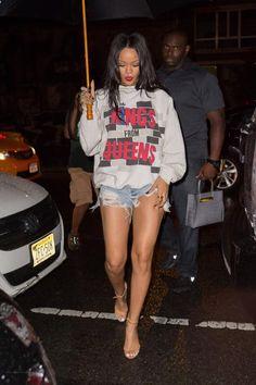 Rihanna wearing Manolo Blahnik Chaos Sandal in Tan, Balenciaga Fall 2014 Crocodile Bag and Run Dmc X Adidas King From Queens Sweatshirt.