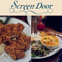 Screen Door Restaurant Portland on East Burnside. Awesome southern food including pimento cheese dip, fried chicken, brisket and carolina pulled pork sandwich.