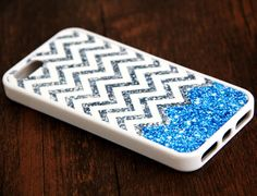 Blue Glitter iPhone 6 Plus iPhone 6 iPhone 5S iPhone 5C iPhone 5 iPhone 4S/4 Rubber Case