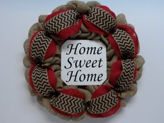 Burlap Wreath with Home Sweet Home Sign, Natural, Red and Black Chevron, Front Door Wreath, Chevron, Large Home Sweet Home Sign Wreath by BeautifulHomeAccents on Etsy
