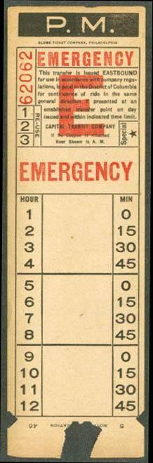 Capital Transit Emergency Transfer (1946).