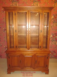 Tell City Hard Rock Maple Half Glass China Cabinet Hutch 8388 ...
