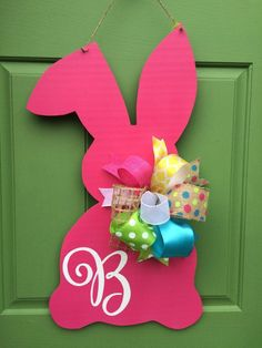 Hot Pink Bunny Monogrammed Wooden Door Hanger by KnockKnockRVA