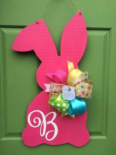 Hot Pink Bunny Monogrammed Wooden Door Hanger by KnockKnockRVA