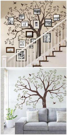 Add a photo frame family tree wall decal to your home Family Tree Decal, Family Tree Art, Family Wall Decor, Tree Decals, Wall Decals, Wall Stickers, Vinyl Decals, Family Tree Designs, Tree Wall Murals