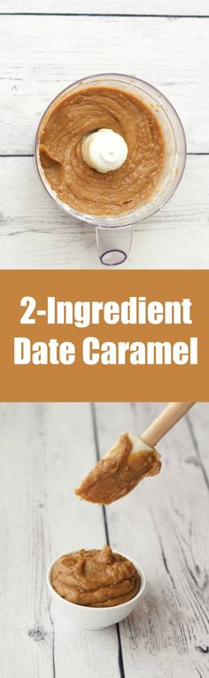 Easy 2-ingredient date caramel, ideal as a pie filling, ice cream swirl or topping. Rich, creamy and smooth! Vegan and Gluten-Free lovingitvegan.com #vegrecipes #plantbased @plantpowerz