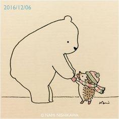 1053 手袋(しろくまくんにはめてもらったよ) mittens #illustration #hedgehog #polarbear #イラスト #ハリネズミ #シロクマ #なみはりねずみ #illustagram