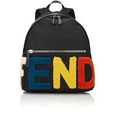 Fendi Logo-Appliqued Backpack ($1,800) ❤ liked on Polyvore featuring men's fashion, men's bags, men's backpacks and black