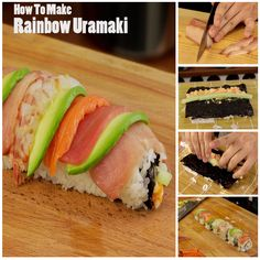 Rainbow Sushi Roll :) See how to make this roll here: