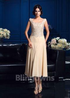 Square Zipper Sleeveless Tea Length Chiffon Jacket Appliques A-line Mother Of The Bride Dresses