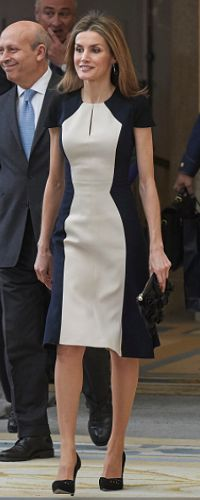 Queen Letizia premier a flattering A-line dress with its contrasting panels, on 16/2/2015. Designed by Carilona Herrera it also has a similar sillouette as the jacket