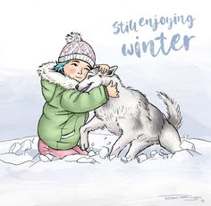 Illustration: Still enjoying winter. Girl playing with husky dog in the snow Husky Dog, Illustration Girl, Princess Zelda, Snow, Winter, Dogs, Pictures, Fictional Characters, Art
