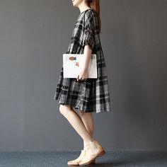 Nero vestito mezzo maniche plaid cotone e misto di Vivianzakka Quadretti fa5e7813353