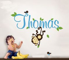 Removable-Monkey-Birds-And-Baby-039-s-Name-Vinyl-Wall-Paper-Decal-Art-Sticker-X486-1