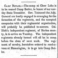 Camp Butler, 1861, the State Journal Register. Springfield Illinois Civil War history.