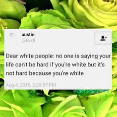 To fellow white people: we do not experience racism and our lives are not hard because of our whiteness.