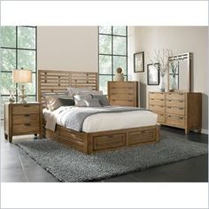Broyhill Ember Grove Storage Bed 5 Pc Bedroom Set in Weathered-Khaki - The casual, contemporary Ember Grove Panel Bed with storage footboard has figured-ash veneers in a weathered-khaki finish and modern slat design. To maximize the beauty and durability of the wood surface, Broyhill uses a multi-step finishing process that protects while enhancing color, depth and clarity.