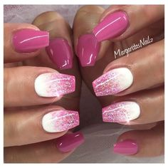 There are three kinds of fake nails which all come from the family of plastics. Acrylic nails are a liquid and powder mix. They are mixed in front of you and then they are brushed onto your nails and shaped. These nails are air dried. Fancy Nails, Trendy Nails, My Nails, Gel Nail Designs, Cute Nail Designs, Nails Design, Glitter Nail Designs, Nail Designs For Spring, Nail Art Ideas For Summer