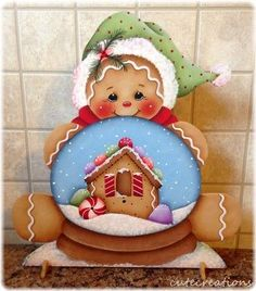 HP GINGERBREAD with Snow Globe SHELF SITTER
