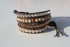 Multi-Stone Beaded Leather Wrap Bracelet. $37.00, via Etsy.