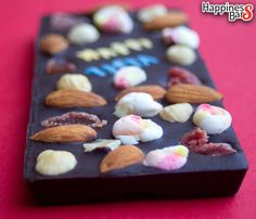 Sunil's dark chocolate happiness bar with marshmallows, berries and nuts!  What's more! This bar has a personalised name too!