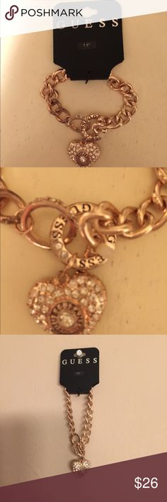 "Guess rose gold heart charm bracelet BNWT guess rose gold guess heart bracelet, super cute, heart charm has stones on it, easy to loop to put on and off 7.5"", really cute to dress up any outfit Guess Jewelry Bracelets"