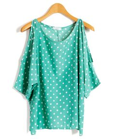 Mint Green Chiffon Shirt with Cold Shoulder in Spot Print from Chicnova  (One of seven solid t-shirts in fun colors)