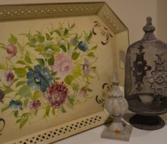 Large Vintage Hand Painted Metal Tole Tray by HauteBlooded on Etsy, $95.00  So pretty!
