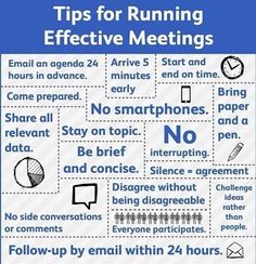Tips for running effective meetings - http://www.planningengineer.net/tips-for-running-effective-meetings/