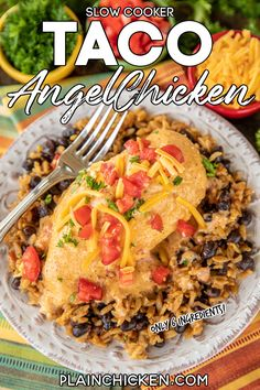 Slow Cooker Taco Chicken Chicken – a weeknight family favorite!! Only 6 ingredients! Chicken, cream cheese, cream of chicken soup, chicken broth, taco seasoning, and Rotel diced tomatoes and green chiles. Serve over Mexican rice and black beans, pasta, grits, rice or potatoes. Everyone cleaned their plate and asked for seconds! That never happens!!! This recipe is a keeper! #crockpot #slowcooker #taco #chicken Slow Cooker Pasta, Slow Cooker Tacos, Slow Cooker Chili, Crock Pot Slow Cooker, Slow Cooker Recipes, Crockpot Recipes, Cooking Recipes, Easy Cooking, Slow Cooker Mexican Chicken