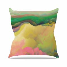 "Nina May ""Pastoral"" Green Yellow Throw Pillow"