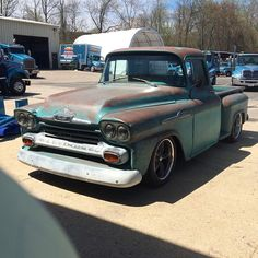 """Ah the things that I see at work, it's a beater! #chevy #apache #foose"""