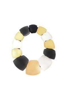 Black, white and gold-tone oversized stones necklace from Monies. Made in Denmark