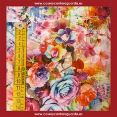 Tela motivo floral de colores, doble ancho, corte desde 25cms. Corte desde 25cms x 145cms